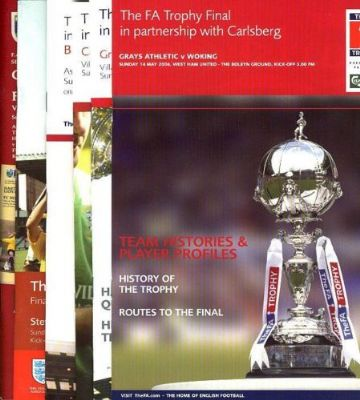 Complete set of FA TROPHY FINAL PROGRAMMES whilst Wembley was being rebuilt 2001 to 2006
